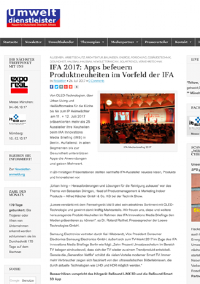 IFA 2017: Apps befeuern Produktneuheiten im Vorfeld der IFA