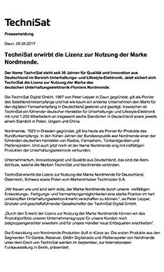 TechniSat erwirbt die Lizenz zur Nutzung der Marke Nordmende